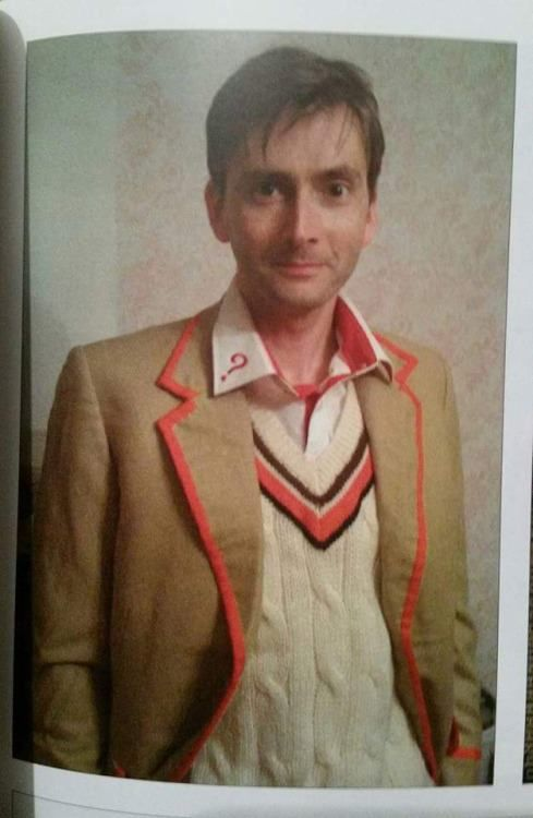 Photo of David Tennant in Peter's costume from Peter Davison's book