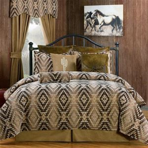 Victor Mill Mesa Brown Southwestern Bedding Comforter or Duvet Set in Twin, Full, Queen, King, Cal King and as a Daybed Set  #DelectablyYours Southwestern Bed and Bath Home Decor