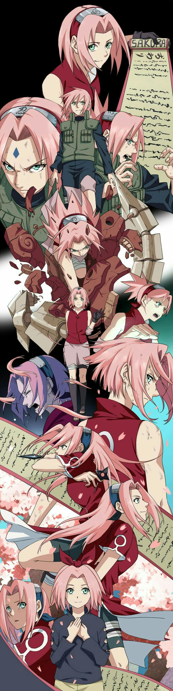 Haruno Sakura, young, childhood, different ages, time lapse, scroll; Naruto
