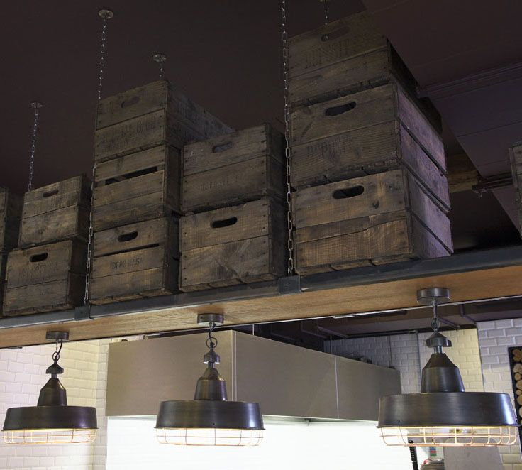 Wooden crates & pendant lighting | Zizzi Hereford, 2014