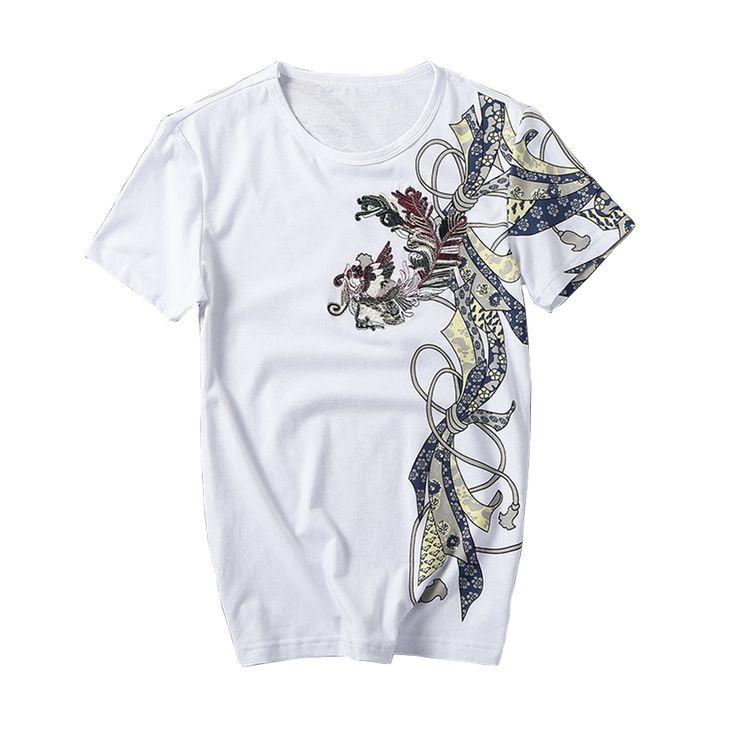 Aliexpress.com: Comprar 2016 de Verano Para Hombre Casual Camisetas Estilo Chino Phoenix Bordado de la Marca masculina Camiseta Hip Hop Slim Fit Ropa Para Hombres Plus tamaño de camisa de encargo fiable proveedores en JULY Mens Clothes