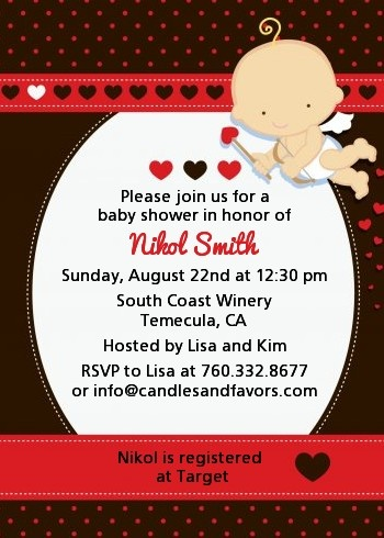 Cupid Baby Valentines Day Baby Shower Invitations