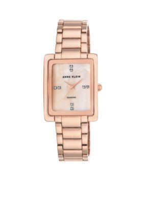 Anne Klein Women's Womens Rose Gold-Tone Diam Dial Rectangle Tank Watch - Rose Gold - One Size