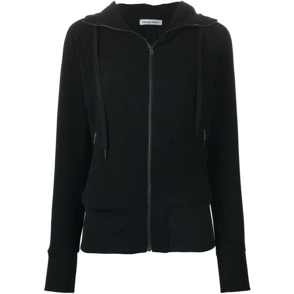Tomas Maier Zip Hoodie found on Polyvore featuring tops, hoodies, black, black top, black zip hoodies, black zip hoodie, zip top and zipper hoodies
