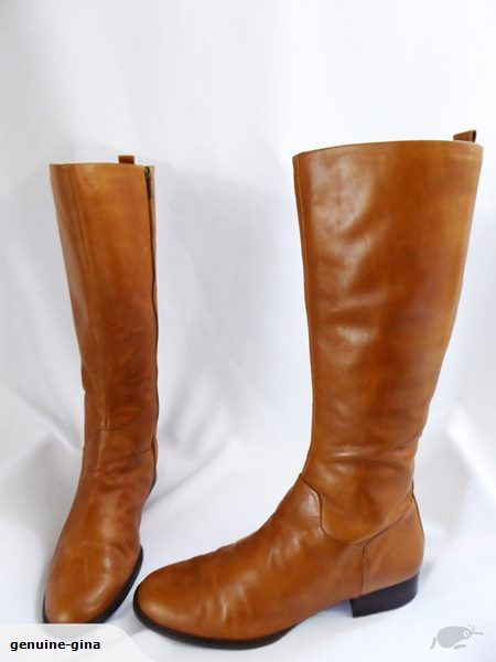 DIANA FERRARI caramel leather kneehigh riding style boots low heels size 11