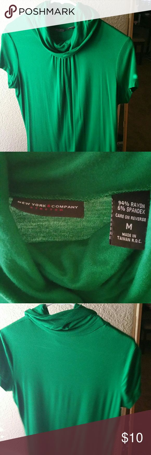 Green blouse Green short sleeve blouse with relaxed fit and loose high neck New York & Company Tops Tees - Short Sleeve