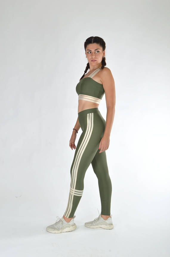 Leggings & Crop Top Woman clothing set Green leggings Green