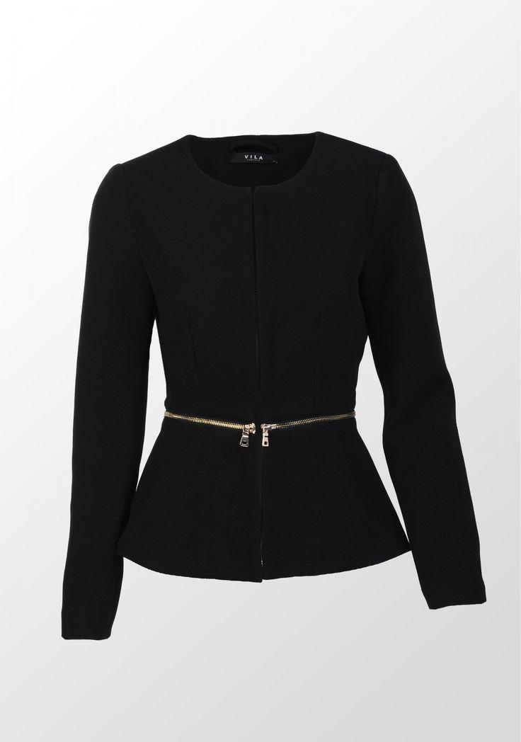 Vila, jachetă cu lungime ajustabilă, neagră