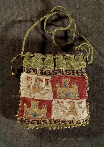"""13th century knit bag. Identified as a Money Bag and as mudéjar (""""a subject Muslim during the Christian reconquest of the Iberian peninsula from the Moors who, until 1492, was allowed to retain Islamic laws and religion in return for loyalty to a Christian monarch."""")"""
