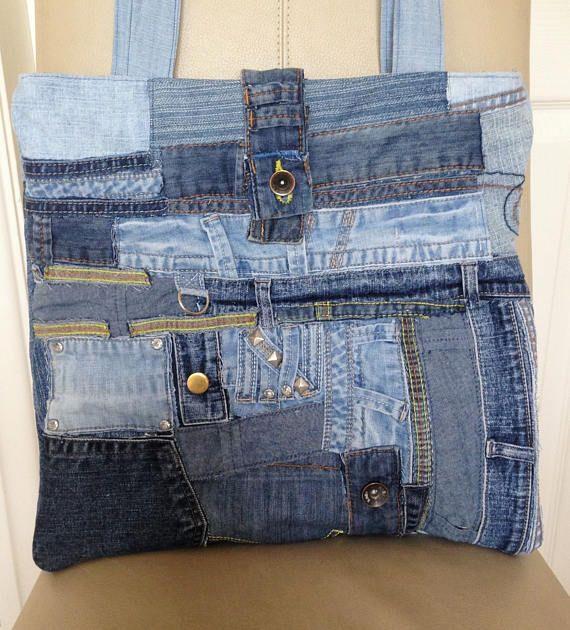 Denim Tote Bag Jeans Tote Bag Upcycled Denim Bag Upcycled