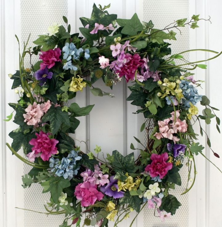 Lacie Floral Silk Spring Front Door Wreath 22 In Floral Door Wreaths Decorative Door Wreaths Spring Door Wreaths