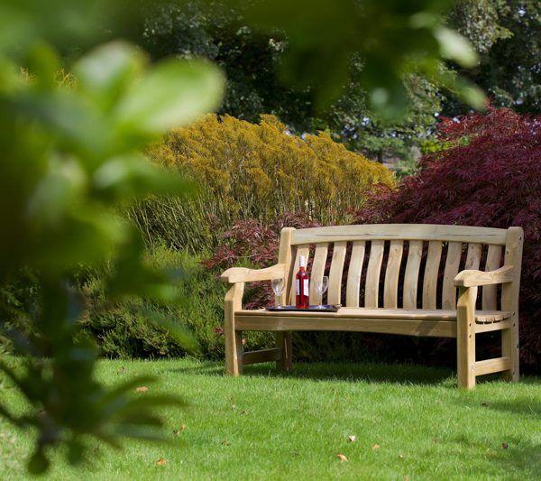 9371019 Devon Deluxe 3 Seater Bench Wooden Garden Benches Wooden Garden Planters