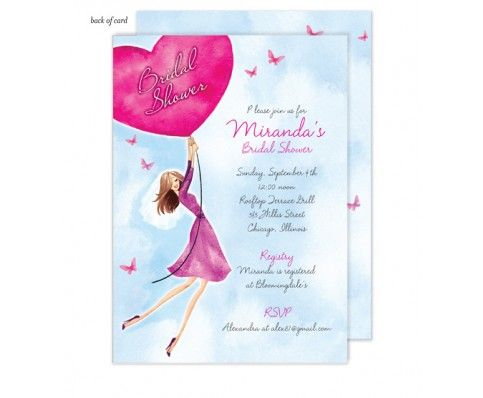 Butterflies & Balloons Bridal Shower Invitation by Bonnie Marcus