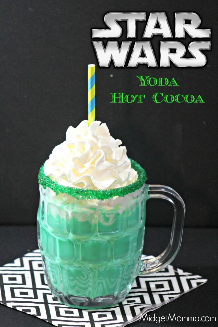Star Wars Inspired Yoda Hot Chocolate. Amazing tasting white hot chocolate that is inspired by Yoda. Kids will love it and adults will too! Easy to make white hot chocolate with a secret to make it green!