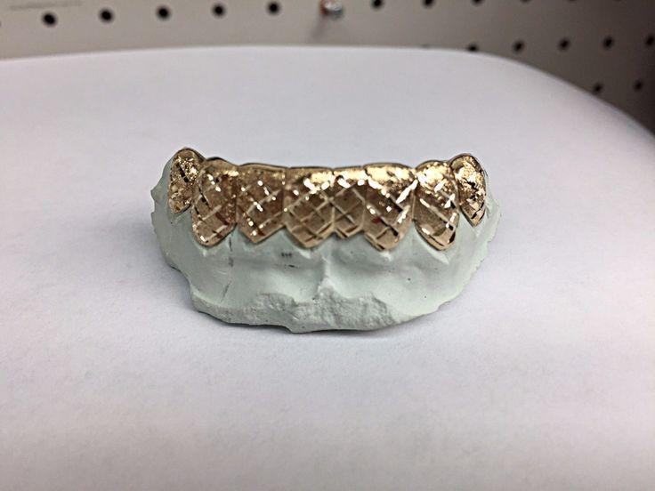 Grillz Dental Grills 152808: 10K Yg Custom Made Diamond Dust Cut Grill Grillz Gold Teeth. BUY IT NOW ONLY: $300.0