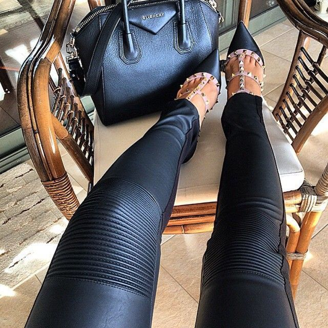 Black leather.
