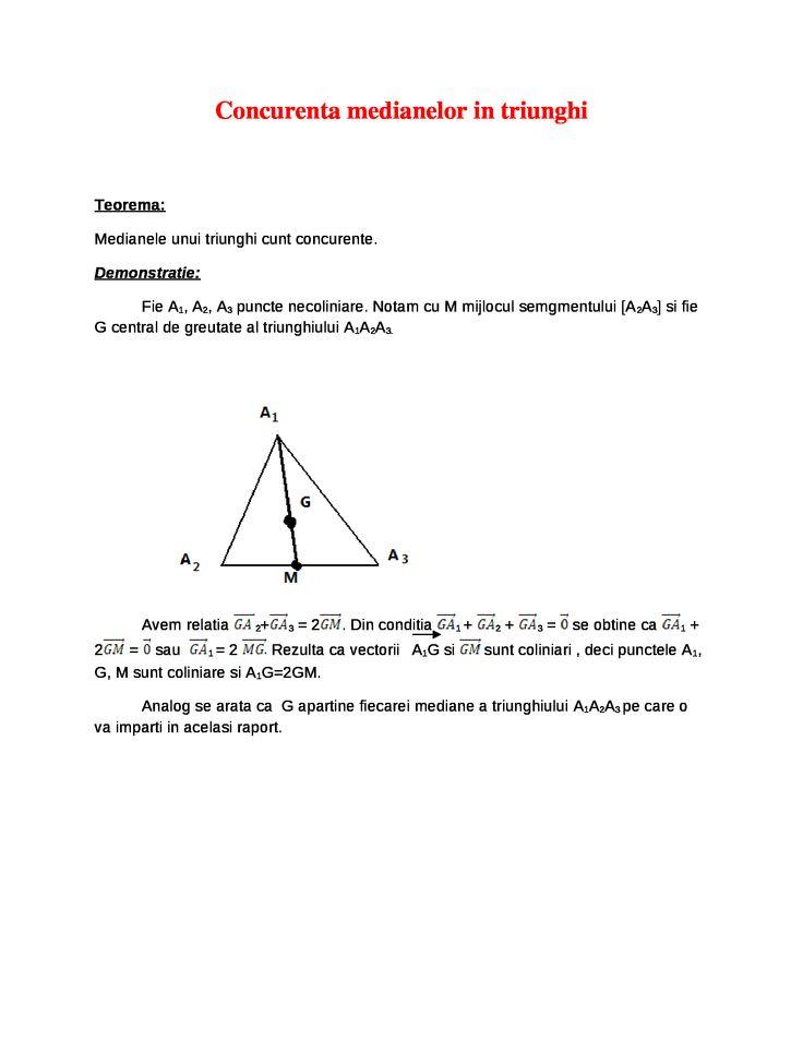 Concurenta Medianelor in Triunghi - Documents