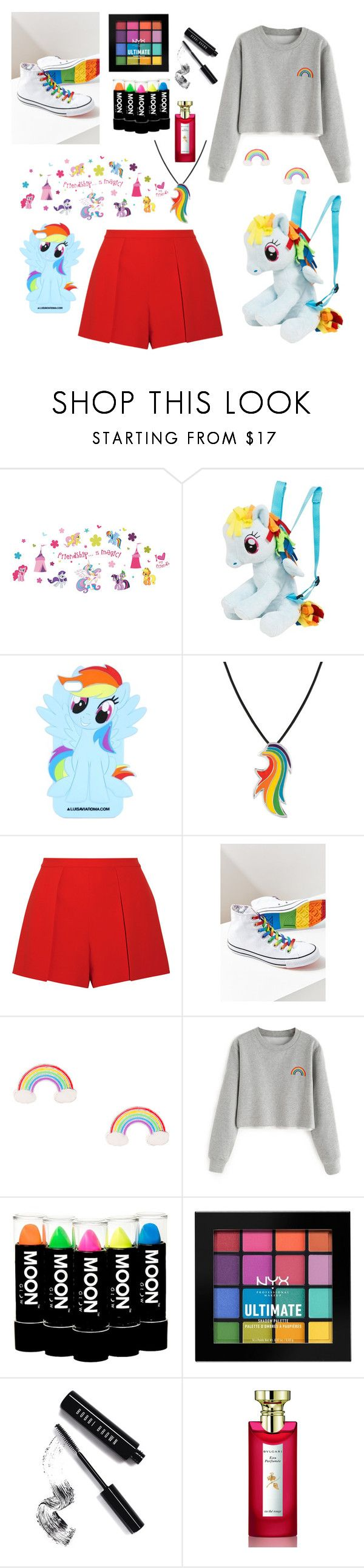 """""""Outfit for Comic Con"""" by valerija-snowite ❤ liked on Polyvore featuring Brewster Home Fashions, My Little Pony, Alice + Olivia, Converse, NYX, Bobbi Brown Cosmetics and Bulgari"""