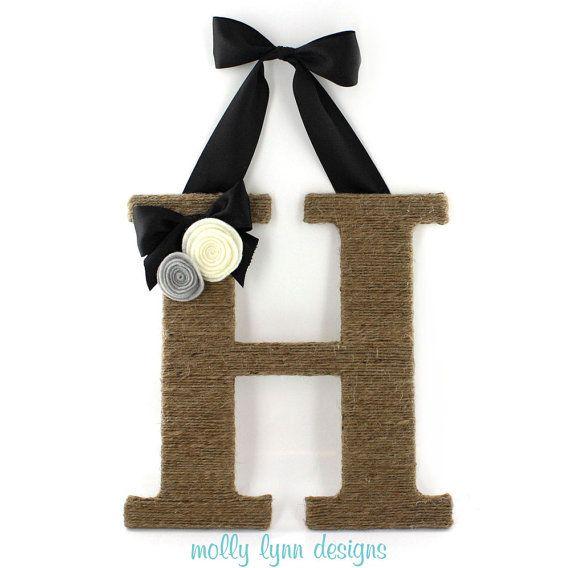 Custom Twine Wrapped Letter Monogram Wreath by MollyLynnDesigns, $17.50