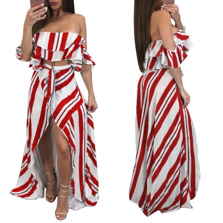 Women Striped Beach Dress Off Shoulder Tops + High Low Hem Dress FZ5372