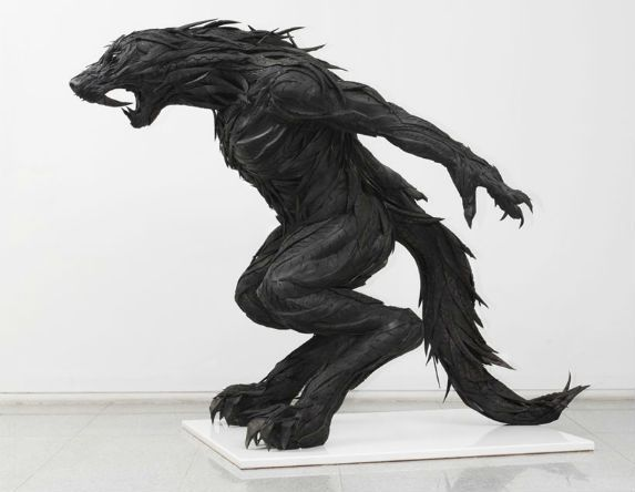 Statue made from old rubber tires.