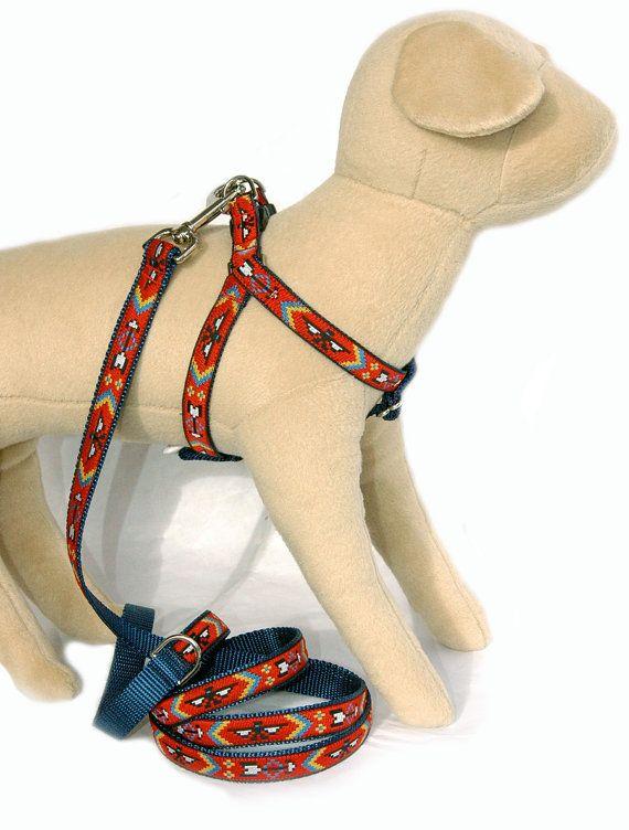 Shoshone Native American tribal navy red cute ribbon dog harness Southwestern Navajo style step in dog harness small dog large dog harness