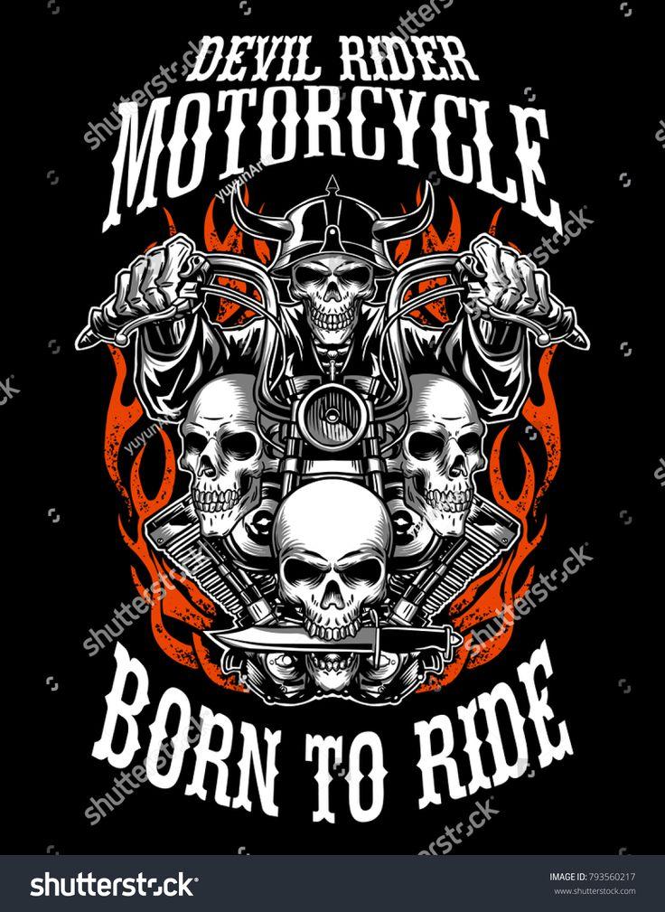 Illustration custom motorcycle emblems, tshirt design