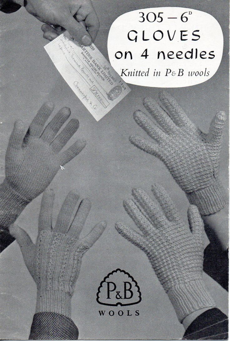 Womens gloves knitting pattern 1950s patterned lace plain 4 needles 2 ply 3 p...