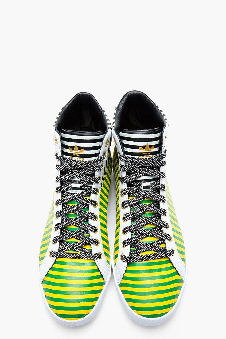ADIDAS ORIGINALS BY O.C. Green and yellow striped leather Rod Laver Vintage mid-tops