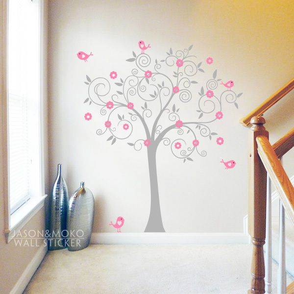 Птицы цветы искусство винил дерево стикера фреска обои детская игровая комната девушки детской комнаты 180 x 180 см декор дома новый год
