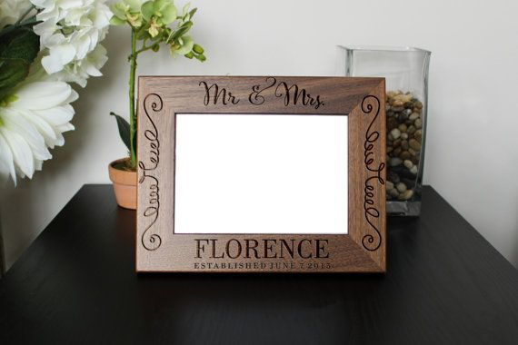 Personalized Picture Frame, Walnut Picture Frame, Wedding Gifts, Custom Walnut Picture Frame, Newlywed gifts, Picture Frames, Wedding Gift, Walnut Photo frame Personalized picture frames make showcasing your favorite photos even more special. You can customize your picture frame to capture
