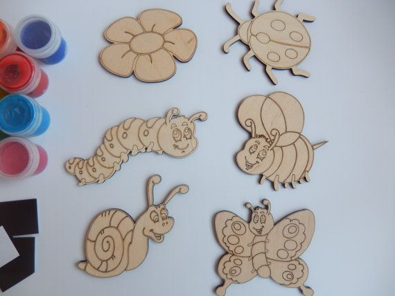 Insects Wooden Craft Shapes-Wooden Toys for Kids by BadooCrafts