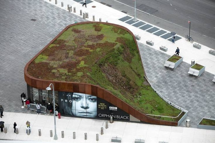 The green roof of the transit station entrance adjacent to Barclays Center provides a sense...
