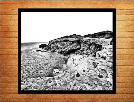 Black and white printable. Digital download 'Rocky Shores' - Made by Gia $10.00