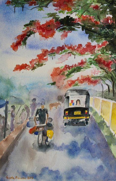 Buy Street in Summer, India, Watercolor by Geeta Biswas on Artfinder. #streetscene #india #incredibleindia #autorickshaw #bicycle #street #watercolor #art #painting #under$200 #gift #souvenir #contemporaryart #originalart