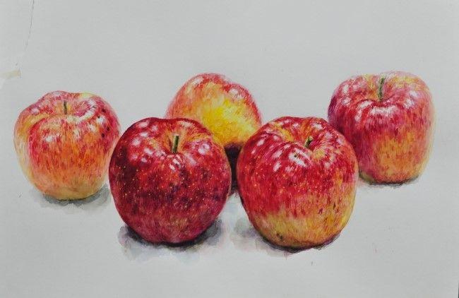 정물수채화: 사과 그