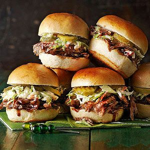 Pork shoulder becomes fork tender after roasting with a balsamic vinegar-based barbecue sauce in a slow cooker for a few hours. Serve on slider buns with a scoop of coleslaw for a small sandwich that...see more