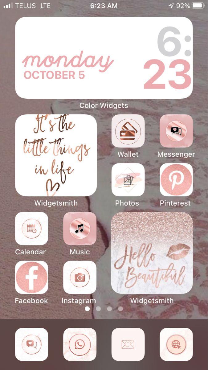 Rose Gold Ios 14 Home Screen So Pretty Iphone Wallpaper App Iphone App Design Homescreen