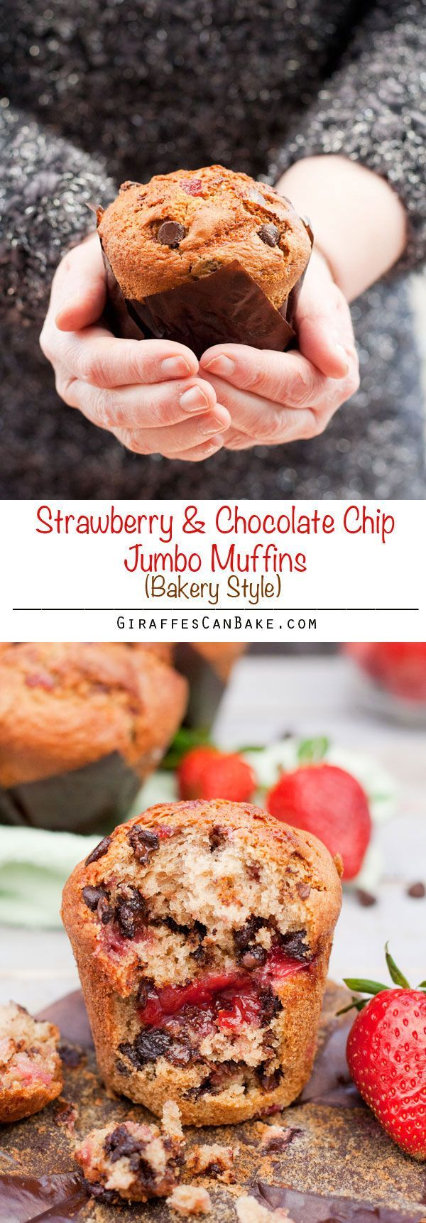 Strawberry Chocolate Chip Jumbo Muffins - Really moist bakery style muffins full of chocolate chips and a gooey strawberry sauce centre. These Strawberry Chocolate Chip Jumbo Muffins are super-sized, absolutely delicious and taste just like they came from