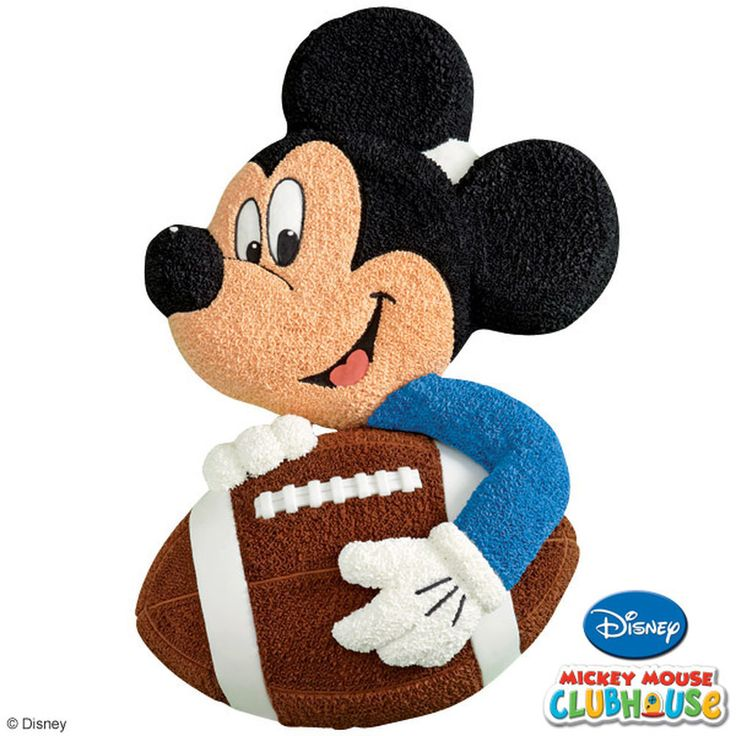 Sports stars and Monday-morning quarterbacks will get a kick out of this design. Mickey?s got a hold of a football-shaped cake and  he?s making a run for the winning TD!