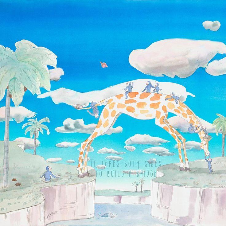 """Medidadel fotomural: 350 cm ancho x 270 cm alto  Plazo de entrega. Disponible para enviar en 15 días    Este es el mural """"Bridge"""" que nos presenta a una jirafa haciendode puente,para ayudara unos monos a cruzar un rio en una selva llena de fantasía. Es muy representativo del mensaje que nos quiere hacer llegar: """"Construyamos puentes en lugar de muros"""".  Preciosos murales de animales para que los niños dejen volar su imaginación y aprendan con los mensajes educativos ..."""