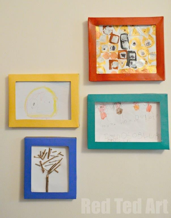 Storing Kids Art in DIY Box Picture Frames made from cereal boxes.  Can store lots of art and display one at a time.  Kids can decorate themselves with paints--you may want to do first coat in white for better coverage or let the kids decoupage--that will keep them busy!  Slide the new pictures from the side or the top.  See instructions by clicking on the picture.
