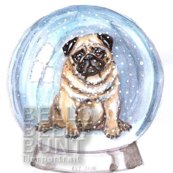 Original Aquarell MOPS IN DER SCHNEEKUGEL Humor Schnee Winter >> SHOP BESUCHEN