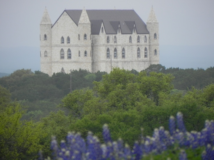Falkenstein Castle near Kingsland, Texas ~ It is located between Burnet and Marble Falls, 5 miles northeast of Kingsland, 1 mile west of the famous Longhorn Caverns, and just east of Hoover's Valley. Perched high on a hilltop surrounded by 113 acres of Oaks, it is a destination wedding castle with lodging and full catering services