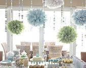 15 Paper Pom Poms : vintage wedding  - rustic - outdoor modern wedding - bridal shower - baby showers - modern decor - choose your colors. $55.00, via Etsy.