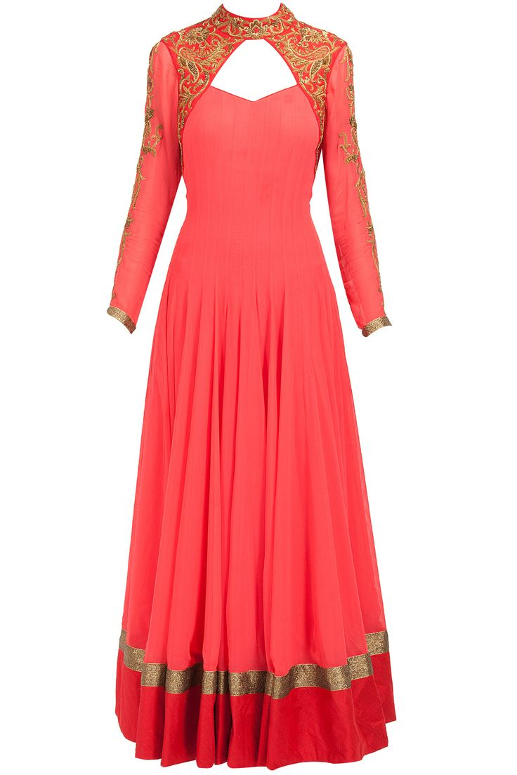 Coral top collar embroidered anarkali available only at Pernia's Pop-Up Shop.