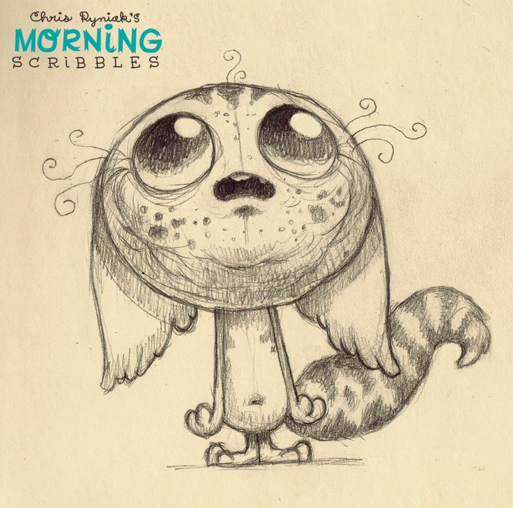 chris ryniak - morning scribbles   zeichnung, monster
