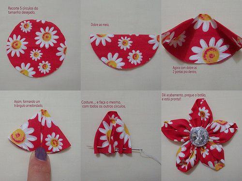 Outro modelo de flor de fuxico passo a passo