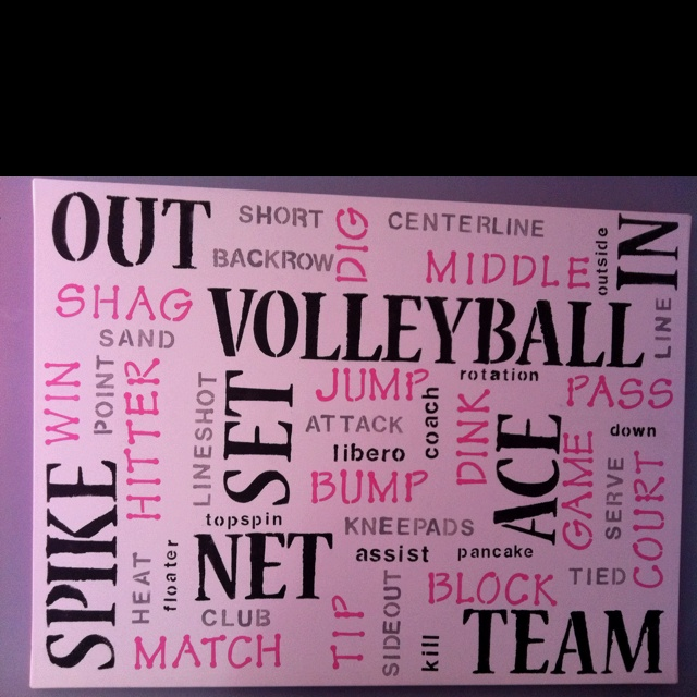 """""""Volleyball canvas that I painted to go in Sara's room"""". My neighbors would love this! Their 3 oldest girls play volleyball :-)"""
