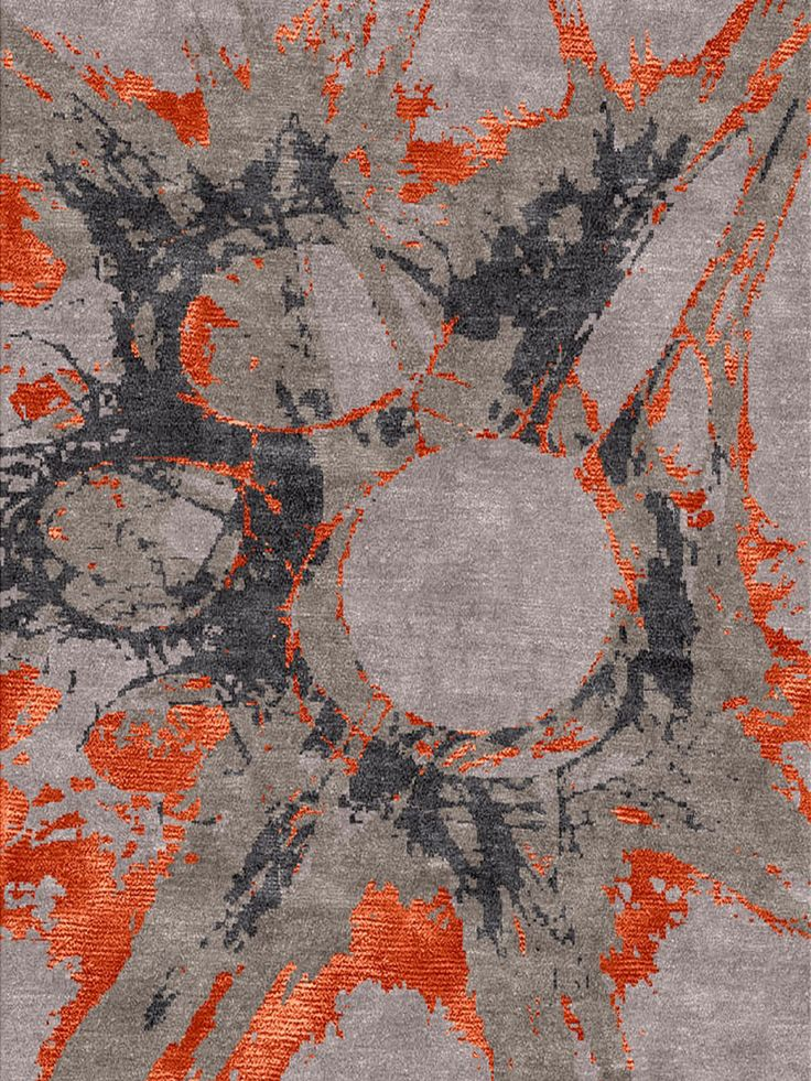 Aurora Orange - rug from Bazaar Velvet - A funky bold design with a splash of orange silk. Hand knotted Himalayan wool and Chinese silk. Modern luxury rugs London